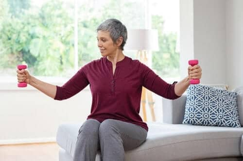 sitting exercises elderly woman